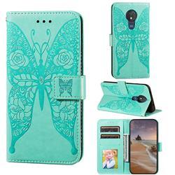 Intricate Embossing Rose Flower Butterfly Leather Wallet Case for Motorola Moto G7 Power - Green