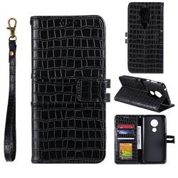 Luxury Crocodile Magnetic Leather Wallet Phone Case for Motorola Moto G7 Power - Black