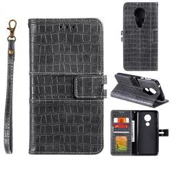Luxury Crocodile Magnetic Leather Wallet Phone Case for Motorola Moto G7 Power - Gray