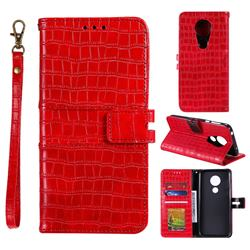 Luxury Crocodile Magnetic Leather Wallet Phone Case for Motorola Moto G7 Power - Red