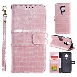 Luxury Crocodile Magnetic Leather Wallet Phone Case for Motorola Moto G7 Power - Rose Gold