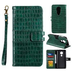 Luxury Crocodile Magnetic Leather Wallet Phone Case for Motorola Moto G7 Power - Green