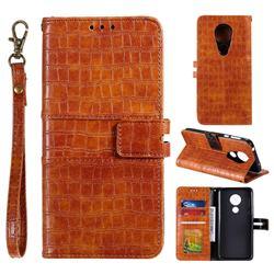 Luxury Crocodile Magnetic Leather Wallet Phone Case for Motorola Moto G7 Power - Brown