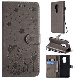 Embossing Bee and Cat Leather Wallet Case for Motorola Moto G7 Power - Gray