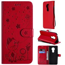Embossing Bee and Cat Leather Wallet Case for Motorola Moto G7 Power - Red