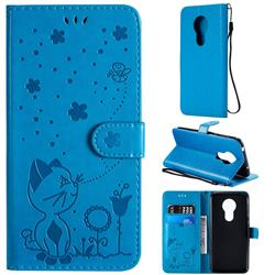 Embossing Bee and Cat Leather Wallet Case for Motorola Moto G7 Power - Blue
