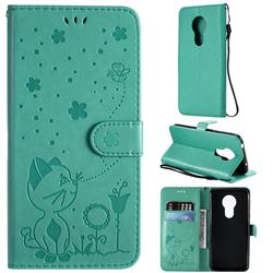 Embossing Bee and Cat Leather Wallet Case for Motorola Moto G7 Power - Green