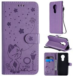 Embossing Bee and Cat Leather Wallet Case for Motorola Moto G7 Power - Purple