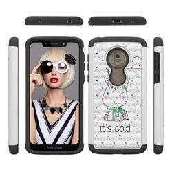 Tiny Unicorn Studded Rhinestone Bling Diamond Shock Absorbing Hybrid Defender Rugged Phone Case Cover for Motorola Moto G7 Play