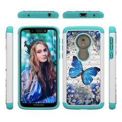 Flower Butterfly Studded Rhinestone Bling Diamond Shock Absorbing Hybrid Defender Rugged Phone Case Cover for Motorola Moto G7 Play