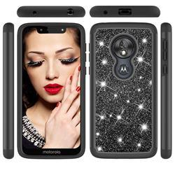Glitter Rhinestone Bling Shock Absorbing Hybrid Defender Rugged Phone Case Cover for Motorola Moto G7 Play - Black