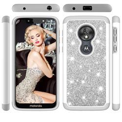 Glitter Rhinestone Bling Shock Absorbing Hybrid Defender Rugged Phone Case Cover for Motorola Moto G7 Play - Gray