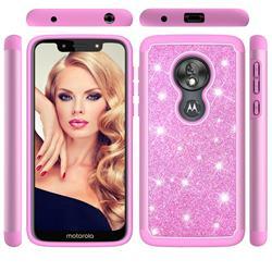 Glitter Rhinestone Bling Shock Absorbing Hybrid Defender Rugged Phone Case Cover for Motorola Moto G7 Play - Pink