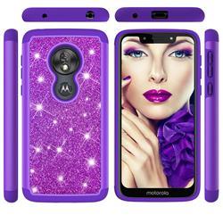 Glitter Rhinestone Bling Shock Absorbing Hybrid Defender Rugged Phone Case Cover for Motorola Moto G7 Play - Purple