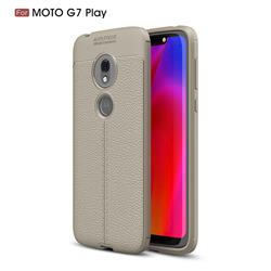 Luxury Auto Focus Litchi Texture Silicone TPU Back Cover for Motorola Moto G7 Play - Gray