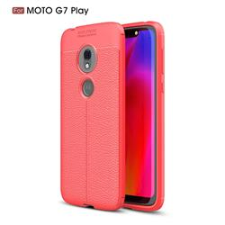 Luxury Auto Focus Litchi Texture Silicone TPU Back Cover for Motorola Moto G7 Play - Red