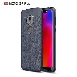 Luxury Auto Focus Litchi Texture Silicone TPU Back Cover for Motorola Moto G7 Play - Dark Blue