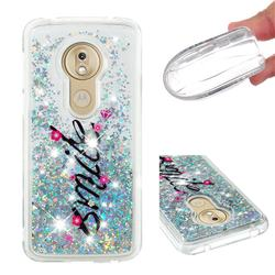 Smile Flower Dynamic Liquid Glitter Quicksand Soft TPU Case for Motorola Moto G7 Play