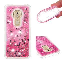 Dynamic Liquid Glitter Quicksand Sequins TPU Phone Case for Motorola Moto G7 Play - Rose