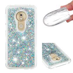Dynamic Liquid Glitter Quicksand Sequins TPU Phone Case for Motorola Moto G7 Play - Silver