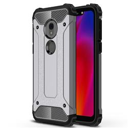 King Kong Armor Premium Shockproof Dual Layer Rugged Hard Cover for Motorola Moto G7 Play - Silver Grey