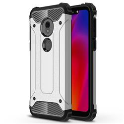 King Kong Armor Premium Shockproof Dual Layer Rugged Hard Cover for Motorola Moto G7 Play - Technology Silver