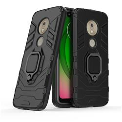 Black Panther Armor Metal Ring Grip Shockproof Dual Layer Rugged Hard Cover for Motorola Moto G7 Play - Black