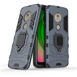 Black Panther Armor Metal Ring Grip Shockproof Dual Layer Rugged Hard Cover for Motorola Moto G7 Play - Blue