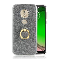 Luxury Soft TPU Glitter Back Ring Cover with 360 Rotate Finger Holder Buckle for Motorola Moto G7 Play - Black