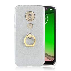 Luxury Soft TPU Glitter Back Ring Cover with 360 Rotate Finger Holder Buckle for Motorola Moto G7 Play - White