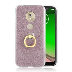Luxury Soft TPU Glitter Back Ring Cover with 360 Rotate Finger Holder Buckle for Motorola Moto G7 Play - Pink
