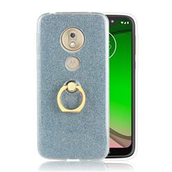 Luxury Soft TPU Glitter Back Ring Cover with 360 Rotate Finger Holder Buckle for Motorola Moto G7 Play - Blue