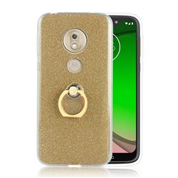 Luxury Soft TPU Glitter Back Ring Cover with 360 Rotate Finger Holder Buckle for Motorola Moto G7 Play - Golden