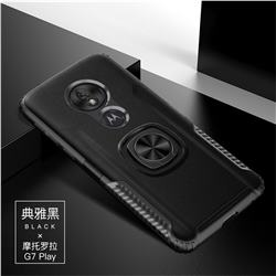 Knight Armor Anti Drop PC + Silicone Invisible Ring Holder Phone Cover for Motorola Moto G7 Play - Black