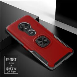 Knight Armor Anti Drop PC + Silicone Invisible Ring Holder Phone Cover for Motorola Moto G7 Play - Red