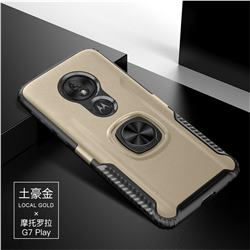 Knight Armor Anti Drop PC + Silicone Invisible Ring Holder Phone Cover for Motorola Moto G7 Play - Champagne