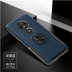 Knight Armor Anti Drop PC + Silicone Invisible Ring Holder Phone Cover for Motorola Moto G7 Play - Sapphire