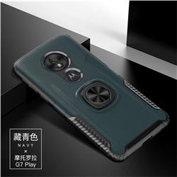 Knight Armor Anti Drop PC + Silicone Invisible Ring Holder Phone Cover for Motorola Moto G7 Play - Navy