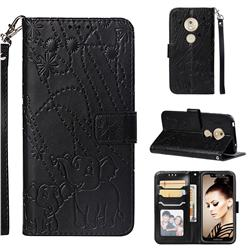 Embossing Fireworks Elephant Leather Wallet Case for Motorola Moto G7 Play - Black