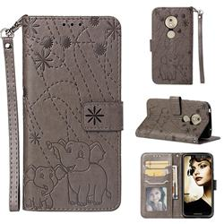 Embossing Fireworks Elephant Leather Wallet Case for Motorola Moto G7 Play - Gray