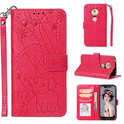Embossing Fireworks Elephant Leather Wallet Case for Motorola Moto G7 Play - Red