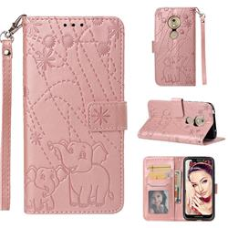 Embossing Fireworks Elephant Leather Wallet Case for Motorola Moto G7 Play - Rose Gold