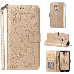 Embossing Fireworks Elephant Leather Wallet Case for Motorola Moto G7 Play - Golden