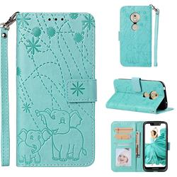 Embossing Fireworks Elephant Leather Wallet Case for Motorola Moto G7 Play - Green