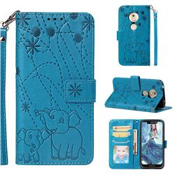 Embossing Fireworks Elephant Leather Wallet Case for Motorola Moto G7 Play - Blue