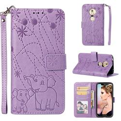 Embossing Fireworks Elephant Leather Wallet Case for Motorola Moto G7 Play - Purple