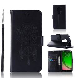 Intricate Embossing Owl Campanula Leather Wallet Case for Motorola Moto G7 Play - Black
