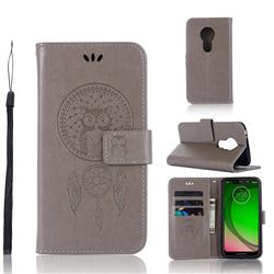 Intricate Embossing Owl Campanula Leather Wallet Case for Motorola Moto G7 Play - Grey