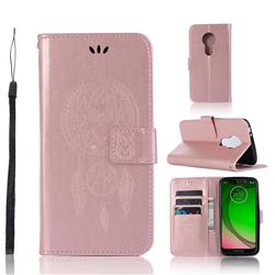 Intricate Embossing Owl Campanula Leather Wallet Case for Motorola Moto G7 Play - Rose Gold