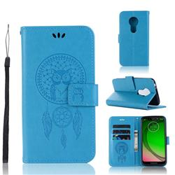 Intricate Embossing Owl Campanula Leather Wallet Case for Motorola Moto G7 Play - Blue